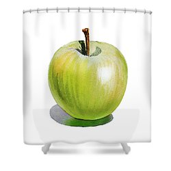 Shower Curtain featuring the painting Sun Kissed Green Apple by Irina Sztukowski