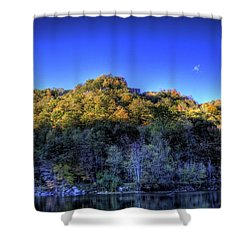 Sun On Autumn Trees Shower Curtain by Jonny D