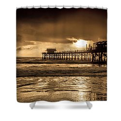 Sun Over The Pier Shower Curtain by Steven Reed