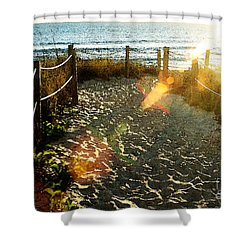 Sun Ray Beach Path Shower Curtain