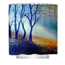 Shower Curtain featuring the painting Sun Ray In Blue  by Lilia D