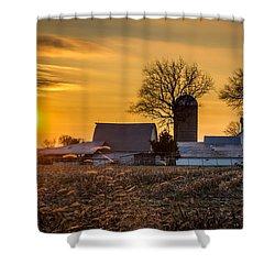 Sun Rise Over The Farm Shower Curtain