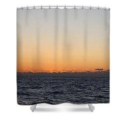 Sun Rising Above Clouds And Horizon Shower Curtain by John Telfer