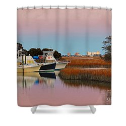 Sun Setting At Murrells Inlet Shower Curtain by Kathy Baccari