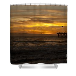 Sun Setting Behind Santa Cruz With Ventura Pier 01-10-2010 Shower Curtain