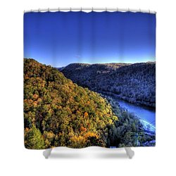 Sun Setting On Fall Hills Shower Curtain by Jonny D
