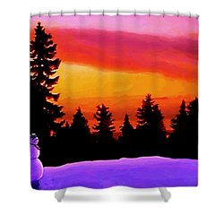 Sun Setting On Snow Shower Curtain