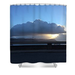 Sunbeams Over Conwy Shower Curtain by Christopher Rowlands