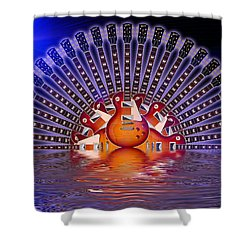 Shower Curtain featuring the digital art Sunburst Moonrise by WB Johnston