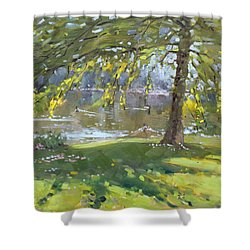 Sunday By The Pond In Port Credit Mississauga Shower Curtain by Ylli Haruni