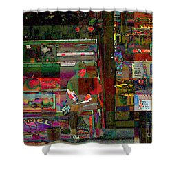 Sunday Paper Shower Curtain by Miriam Danar