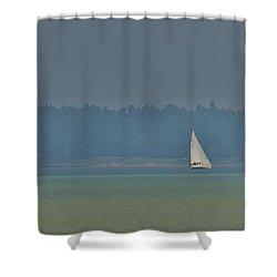 Sunday Sailing  Shower Curtain by Daniel Thompson