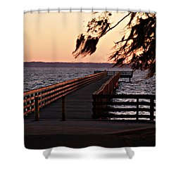 Sundown At Shands Dock Shower Curtain