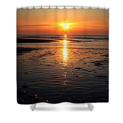 Shower Curtain featuring the photograph Sundown At The North Sea by Annie Snel