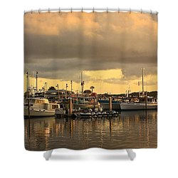 Sundown In The Bay... Shower Curtain by Tammy Schneider