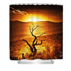Sundown In The Mountains Shower Curtain by Lydia Holly