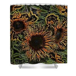 Sunflower 18 Shower Curtain by Pamela Cooper