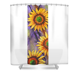 Shower Curtain featuring the painting Sunflower Abstract  by Chrisann Ellis