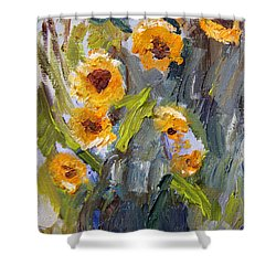 Shower Curtain featuring the painting Sunflower Bouquet by Michael Helfen