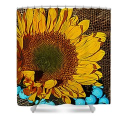 Sunflower Burlap And Turquoise Shower Curtain by Phyllis Denton