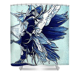 Sunflower - Denim Blues And White Shower Curtain by Janine Riley