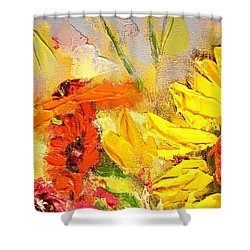 Sunflower Detail Shower Curtain by Ana Maria Edulescu