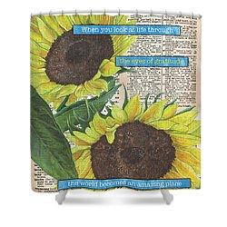 Sunflower Dictionary 2 Shower Curtain by Debbie DeWitt