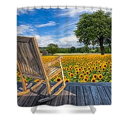Sunflower Farm Shower Curtain by Debra and Dave Vanderlaan