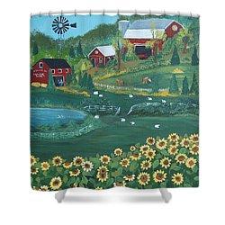 Sunflower Farm Shower Curtain by Virginia Coyle