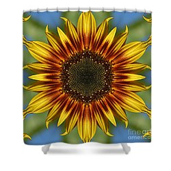 Sunflower Kaleidoscope Shower Curtain by Cindi Ressler