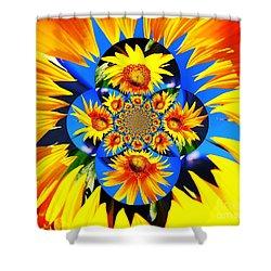 Shower Curtain featuring the photograph Sunflower Kaleidoscope by Judy Palkimas