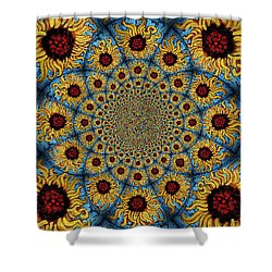 Sunflower Kaleidoscope Mandela Shower Curtain by Genevieve Esson