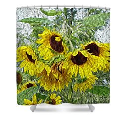 Sunflower Morn II Shower Curtain by Ecinja Art Works
