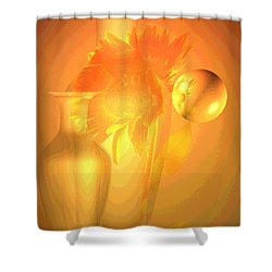 Sunflower Orange With Vases Posterized Shower Curtain by Joyce Dickens