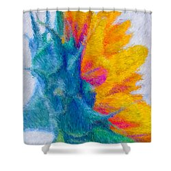 Sunflower Profile Impressionism Shower Curtain by Heidi Smith