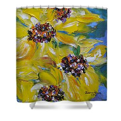 Shower Curtain featuring the painting Sunflower Quartet by Judith Rhue