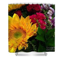 Sunflower Reflections Shower Curtain by Meghan at FireBonnet Art
