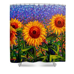 Sunflower Scape Shower Curtain by John  Nolan