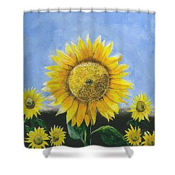 Shower Curtain featuring the painting Sunflower Series One by Thomas J Herring