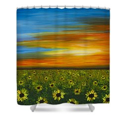 Sunflower Sunset - Flower Art By Sharon Cummings Shower Curtain by Sharon Cummings