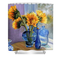 Sunflowers And Blue Bottles Shower Curtain