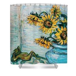 Sunflowers And Frog Shower Curtain by Xueling Zou