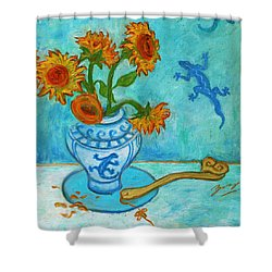 Shower Curtain featuring the painting Sunflowers And Lizards by Xueling Zou