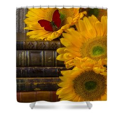 Sunflowers And Old Books Shower Curtain by Garry Gay