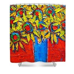Sunflowers Bouquet In Blue Vase Shower Curtain by Ana Maria Edulescu