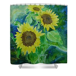 Sunflowers Colorful Sunflower Art Of Original Watercolor Shower Curtain by Elizabeth Sawyer