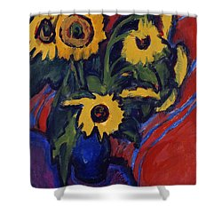 Sunflowers Shower Curtain by Ernst Ludwig Kirchner