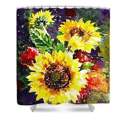 Shower Curtain featuring the painting Sunflowers Impressionism by Irina Sztukowski