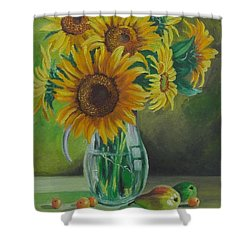 Sunflowers In Glass Jug Shower Curtain