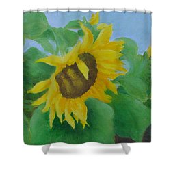 Sunflowers In The Wind Colorful Original Sunflower Art Oil Painting Artist K Joann Russell           Shower Curtain by Elizabeth Sawyer
